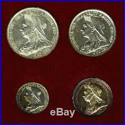 1895 Victoria Maundy Money Four Coin Set Boxed Great Britain Silver Coins