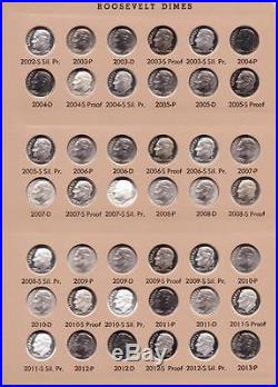 1946 2017 Complete Roosevelt Dime Set All Bu Clad And Silver Proof Dansco 8125