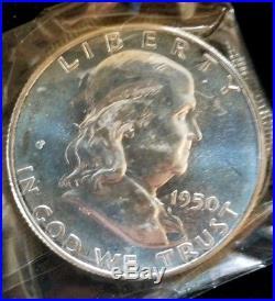 1950 US Mint Proof Set 1c-50c In Original Box & Cellophane Beautiful Coins