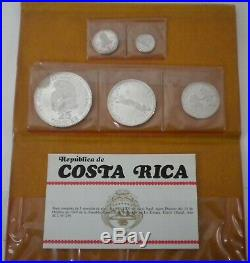 1970 Republica de Costa Rica Silver Proof Coin Set of 5 Coins As is See pics