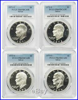 1971-1974 S $1 Silver Eisenhower Ike Dollar PCGS PR69DCAM 4 Coin Set Certified