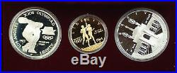 1983-84 US Mint Olympic Commem 3 Coin Silver & Gold Proof Set as Issued DGH