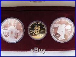1984 US OLYMPIC 3 Coin MINT PROOF SET $10 Gold Piece And Two $1 Dollar Pieces