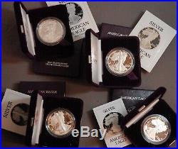 1986 1987 1988 1989 P $1 U. S. Proof. 999 Silver Eagle 4 Coin Set MIB Free Ship