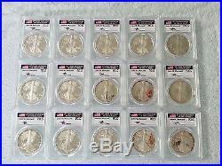 1986-2016 30 Coin Proof Silver American Eagle Set Pr 70 Pcgs John Mercanti Proof