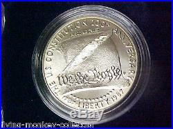 1987-S US Constitution 4 Coin Set 2 $5 Gold and 2 Silver Dollars Proof and BU
