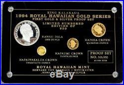 1994 Gold & Silver Royal Hawaiian 950 Minted King Kalakaua Proof Set