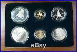 1995 Civil War Battlefield Gold Silver & Clad 6 Coin Proof & UNC Set In OGP JAH