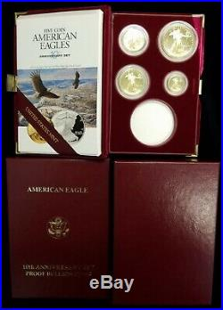 1995-W 10th Anniversary 4 Coin Proof Gold American Eagle Set withOGP No Silver $1