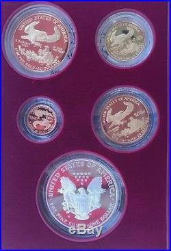 1995-W American Eagle 10th Anniversary Gold & Silver Proof 5pc. Set