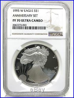 1995-W Proof Silver American Eagle PF-70 Ultra Cameo ANNIVERSAR SET NGC Key date