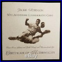 1997 4 Coin Jackie Robinson Commemorative Gold & Silver Coin Set BU & Proof OGP