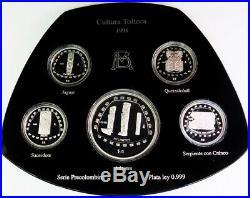 1998 Mo SILVER MEXICO CULTURA TOLTECA 5 COIN PRECOLOMBINA 5 & 10 PESOS PROOF SET