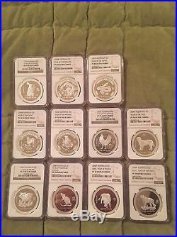 1999-2010 Australia Lunar S1 SET $1 Silver Proof 1oz Coins NGC PR70s & PR69