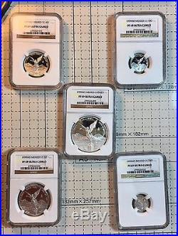 1999 5pc Silver Libertad Proof set Treasure Coins of Mexico NGC PF69