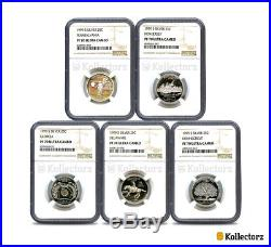 1999 S Silver State 5-coin Quarter Set $. 25 Ngc Pf70 Ultra Cameo Scale Label