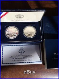2001 American Buffalo Commemorative Silver Dollar 2 Coin Set- BU & Proof w COA