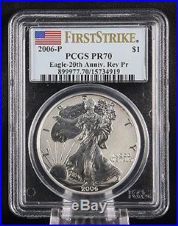 2006 P Silver Eagle Reverse Proof 20th Anniversary Set PCGS PR70 First Strike