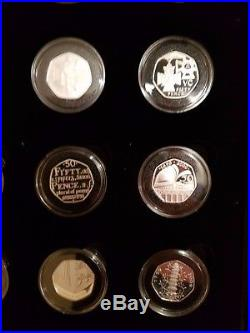 2009 50p Royal Mint Silver Proof Set Collection Kew Gardens 16 Coins