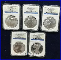 2011 AMERICAN SILVER EAGLE 25th ANNIVERSARY SET 5 COINS NGC MS PF 69 ASE LOT