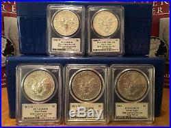 2011 MERCANTI FLAG Silver Eagle 5-COIN 25th Anniversary Set ALL 70's ALL FS