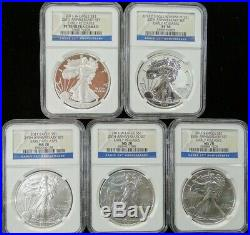 2011 Ms Pf 70 Ngc Silver Eagle $1 Set 25th Anniversary 5pc Proof Early Releases
