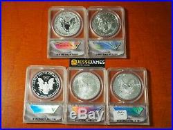 2011 P Reverse Proof Silver Eagle Anacs Pr70 Ms70 5 Coin 25th Anniversary Set S