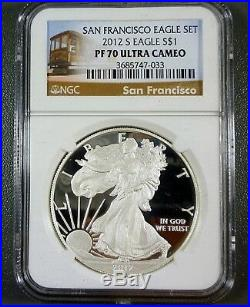 2012-S 2 Coin San Francisco Proof Silver Eagle Set 25th Anniversary NGC PF70 UC