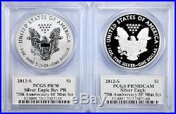2012 S Proof Silver Eagle & Reverse Proof Set PCGS PR70 MOY POP 22! 75th Anniver