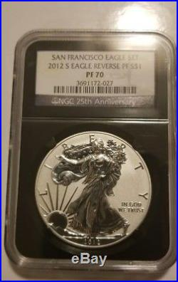 2012 S Reverse Proof Silver Eagle Ngc Pf70 Black Retro From San Francisco Set