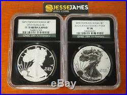 2012 S Reverse Proof Silver Eagle Ngc Pf70 Pf70 San Francisco 2 Coin Set Black
