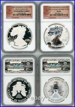2012 S Silver Eagle $1 75th Anniversary San Francisco Set Reverse Ngc Pf69 U. C