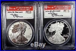 2012 S Silver Eagle Proof 75th Anniversary 2 Coin Set PCGS PR 70 Mercanti