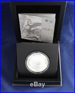 2012 Silver Proof 5oz £10 coin London Olympics Pegasus in Case / COA (X7/13)