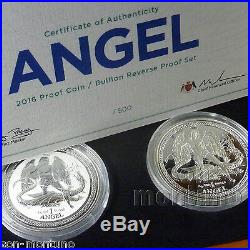 2016 Isle of Man PROOF & REVERSE SILVER ANGEL 2 COIN SET LIMITED TO ONLY 500