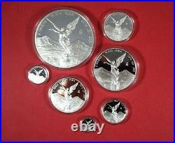2016 Mexico Libertad 7 coin Silver Set 1/20 thru 5OZ proof