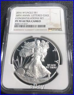 2016-W 30th Anniv. American Proof Silver Eagle Congratulations Set NGC PF70