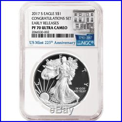 2017-S Proof $1 American Silver Eagle Congratulations Set NGC PF70UC 225th ER