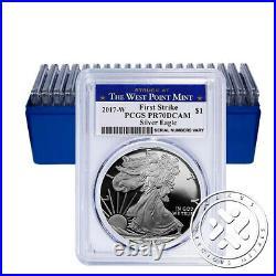 2017 W $1 1oz Proof Silver Eagle Pcgs Pr70 Dcam First Strike W Mint Label