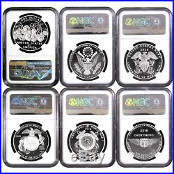 2018 Proof World War I Centennial 6pc. Silver Medal Set NGC PF70UC Flag FR Label