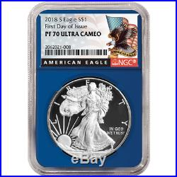2018-S Proof $1 American Silver Eagle 3pc. Set NGC PF70UC FDI Black Label Red Wh