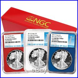2018-S Proof $1 American Silver Eagle 3pc. Set NGC PF70UC FDI First Label Red Wh
