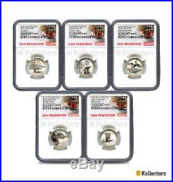 2018 S Reverse Proof 50th Anniv. Quarters 5-coin Set Ngc Pf70 First Day Of Issue