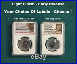 2018 S Silver Kennedy 50C REVERSE PROOF LIGHT FINISH ER PF70 You Choose Label