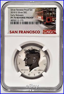 2018-S Silver REVERSE Proof Set KENNEDY 50C NGC PF70 Early Releases -Cable Car
