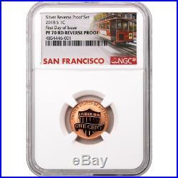 2018-S U. S. Silver Reverse Proof Set 10pc. NGC PF70 FDI Trolley Label
