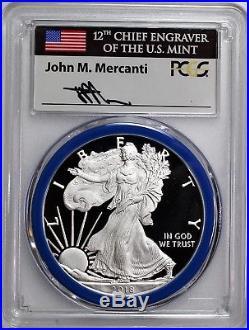 2018 W $1 Silver Eagle PCGS PR70 SP70 Mercanti Mint Engraver Series 2 Coin Set