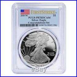 2018-W 1 oz Proof Silver American Eagle Congratulations Set PCGS PF 70 FS