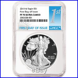 2018-W Proof $1 American Silver Eagle 3 pc. Set NGC PF70UC FDI First Label Red W