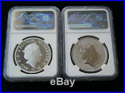 2019 Britannia 1oz Silver Proof 2 coin Set Reverse Proof 700 Issued NGC PF69
